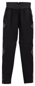 Stella McCartney Sheer Cutouts Think Leggings Zipper Ankles Couture Skinny Pants Black