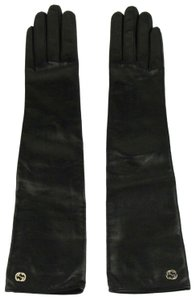 Gucci Leather Arm Length Gloves w/Large Gold Interlocking G 7.5 323028 1000