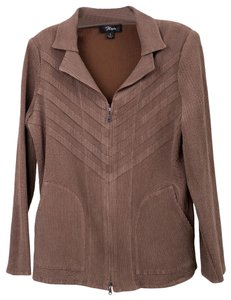 Flair Crinkle Pleated Stretchy Brown Jacket