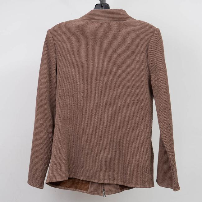 Flair Crinkle Pleated Stretchy Brown Jacket Image 1