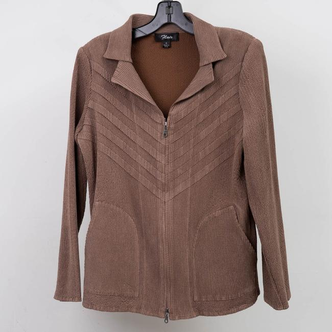 Flair Crinkle Pleated Stretchy Brown Jacket Image 2