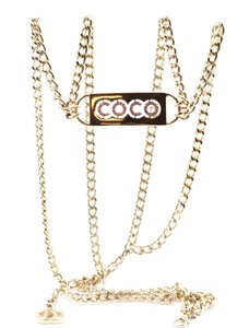 Chanel CC long chain gold necklace belt two way COCO logo