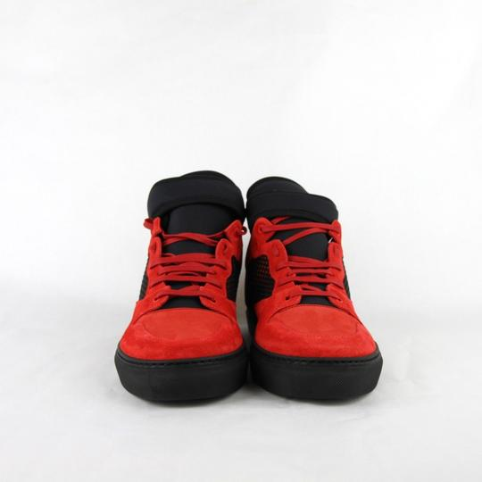Balenciaga Black/Red Black/Red Suede Leather High Top Sneakers 46/Us 13 412349 6561 Shoes Image 2