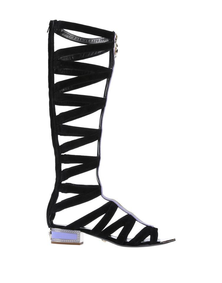 0623c52bc Versace Black New Suede Knee Sandal Gladiator Boots/Booties Size EU ...