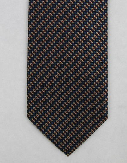 Gucci Blue Brown Men's Striped Woven Silk with Pattern 351810 4365 Tie/Bowtie Image 1