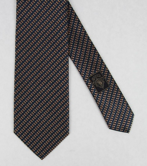 Gucci Blue Brown Men's Striped Woven Silk with Pattern 351810 4365 Tie/Bowtie Image 5