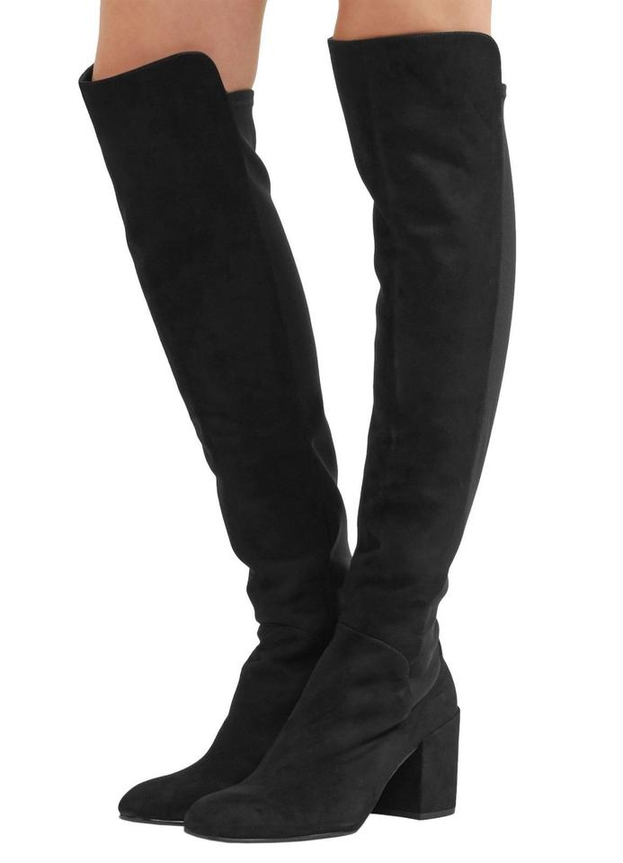7f4b704ed0f Stuart Weitzman Black Suede Halftime Stretch-crepe Over-the-knee ...