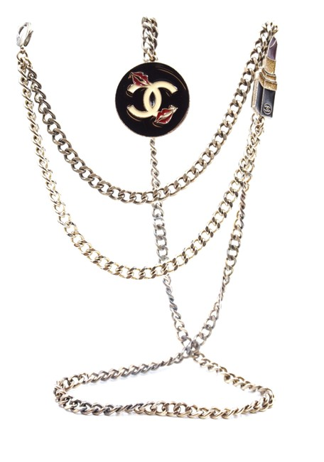 Item - #24354 Silver Black Red Beige Gold Ultra Rare Cc Charms Chain Long Two Way Belt Necklace