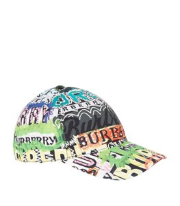 fa750707224 Burberry BRAND NEW BURBERRY FONTS ARCHIVE LOGO PRINT MULTICOLORED BASEBALL  CAP - item med img
