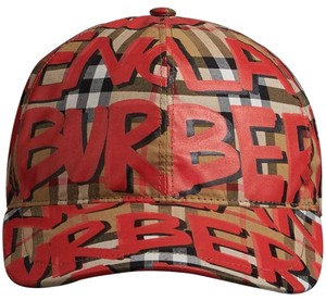 Burberry BRAND NEW BURBERRY MARKER GRAFFITI VINTAGE CHECK RED BASEBALL CAP