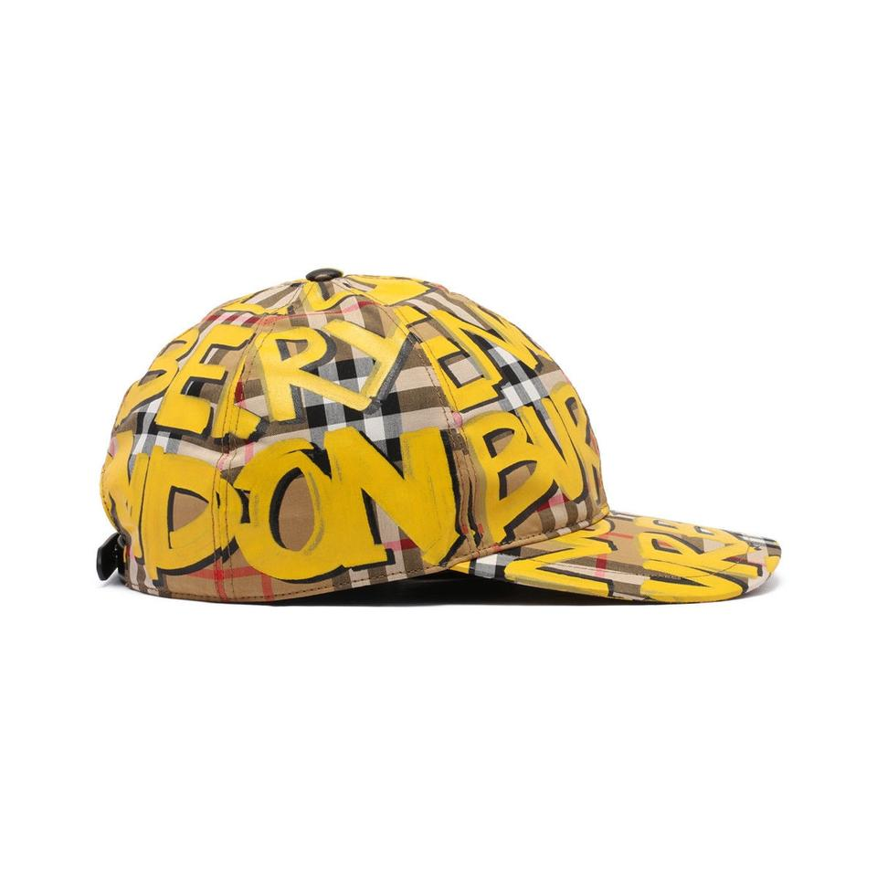7ad02409d5381 Burberry Yellow Marker Graffiti Vintage Check Baseball Cap Hat - Tradesy