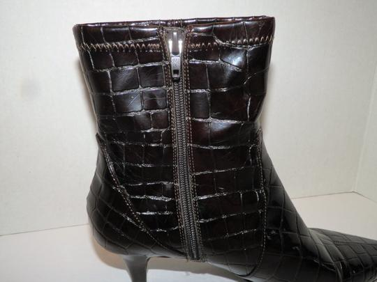 Bandolino Ankle Faux Leather Zipper Man Made Brown Boots Image 5