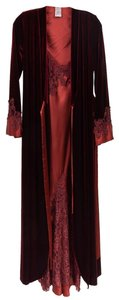 Burgundy Red Maxi Dress by Diane Samardi Vintage Sleepwear Nightgown Robe Bridal Sleepwear