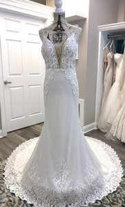 Ivory/Light Nude Lace Sequins 18113 Vanessa Sexy Wedding Dress Size 6 (S)