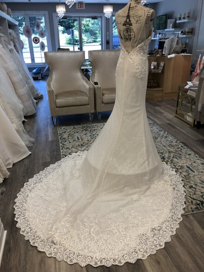 Ivory/Light Nude Lace Sequins 18113 Vanessa Sexy Wedding Dress Size 6 (S) Image 2