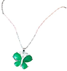 Unbranded Brand new pure silver S925 jade butterfly Necklace with a Beautiful silk pouch!