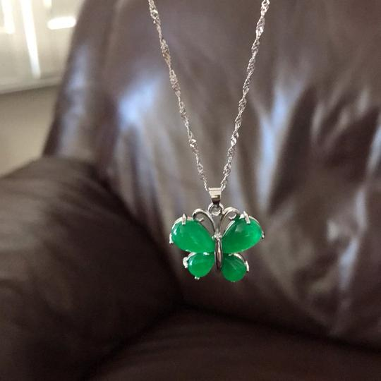 Unbranded Brand new pure silver S925 jade butterfly Necklace with a Beautiful silk pouch! Image 2