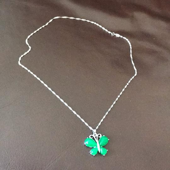 Unbranded Brand new pure silver S925 jade butterfly Necklace with a Beautiful silk pouch! Image 5