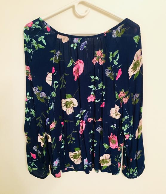 Old Navy Flowers Top Blue & Pink Image 1