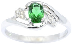 Elizabeth Jewelry Simulated Emerald & Diamond Oval .925 Sterling Silver Ring