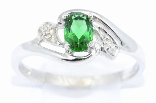 Elizabeth Jewelry Simulated Emerald & Diamond Oval .925 Sterling Silver Ring Image 1