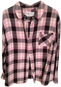 Ava & Viv Plaid Target Button Down Shirt Pink, White, & Black