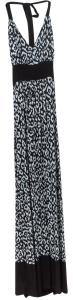 Blue and Black Maxi Dress by Karen Kane Halter Top Long Maxi Leopard Print