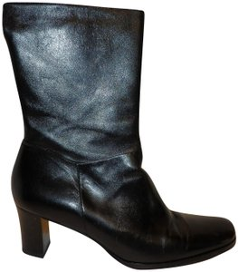 Etienne Aigner Leather Ankle Zipper Heel Black Boots