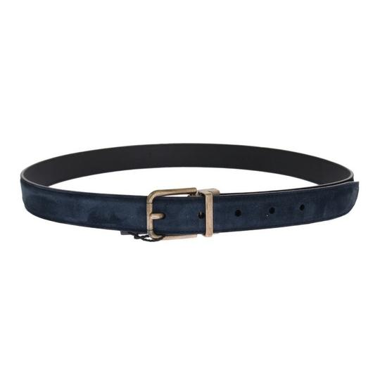 Dolce&Gabbana Blue D11039-1 Leather Gold Brushed Buckle Belt (100 Cm / 40 Inches) Groomsman Gift Image 2