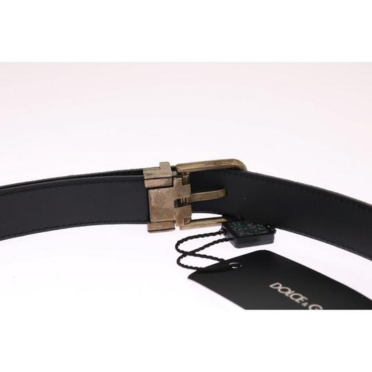 Dolce&Gabbana Blue D11039-1 Leather Gold Brushed Buckle Belt (100 Cm / 40 Inches) Groomsman Gift Image 3