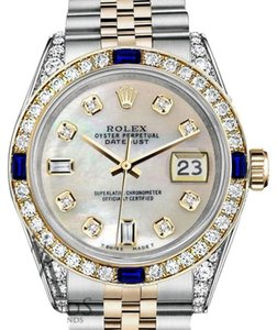 Rolex Ladies Rolex 26mmDatejust WhiteMOP Dial Sapphire Diamond Bezel Watch