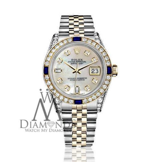 Rolex Ladies Rolex 26mmDatejust WhiteMOP Dial Sapphire Diamond Bezel Watch Image 1