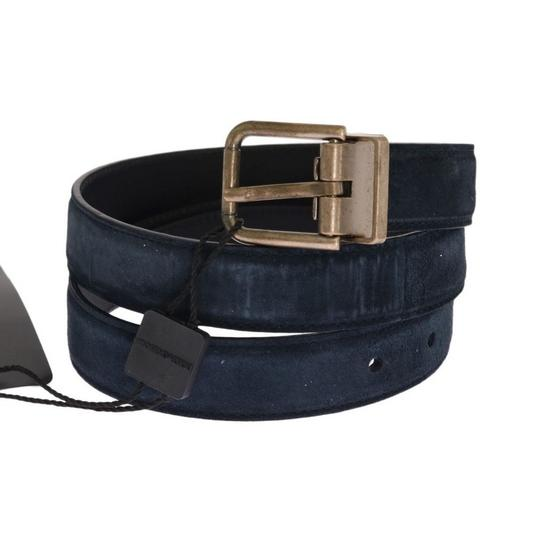 Dolce&Gabbana Blue D11039-2 Leather Gold Brushed Buckle Belt (105 Cm / 42 Inches) Groomsman Gift Image 1