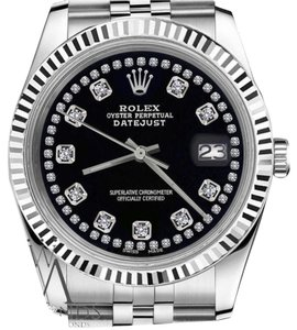 Rolex Womens 26mm Datejust Black Color String Diamond Accent Dial Watch