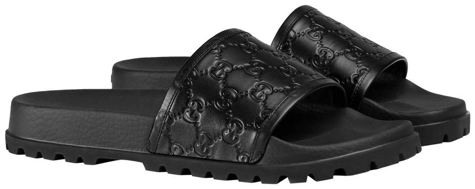 8afe0a08dd6618 Gucci Black New Men s Gg Guccissima Slide 7g 7.5   431070 Sandals ...