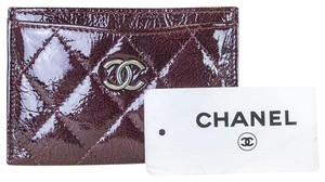 Chanel Bordeaux Quilted Patent Leather Credit Card Holder