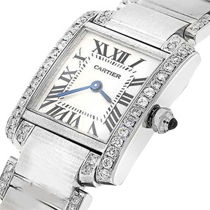 Cartier Ladies Tank W51008q3 With Natural Diamonds Stainless Steel Watch