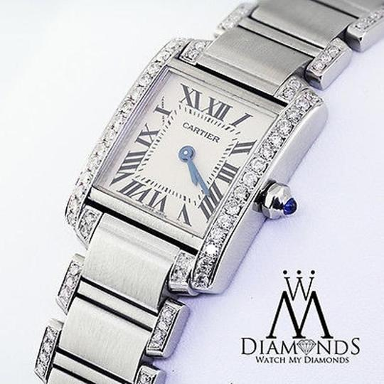 Cartier Ladies Tank W51008q3 With Natural Diamonds Stainless Steel Watch Image 1