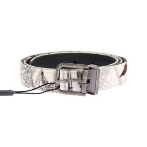 Dolce&Gabbana Multicolor D11031-2 White Denim Bird Print Leather Belt (90 Cm / 36 Inches) Groomsman Gift