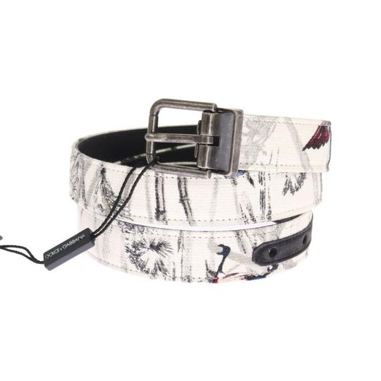 Dolce&Gabbana Multicolor D11031-2 White Denim Bird Print Leather Belt (90 Cm / 36 Inches) Groomsman Gift Image 1