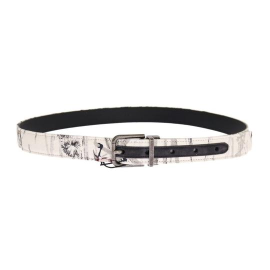 Dolce&Gabbana Multicolor D11031-2 White Denim Bird Print Leather Belt (90 Cm / 36 Inches) Groomsman Gift Image 2