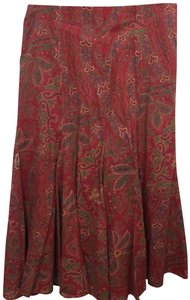 Ralph Lauren Black Label Fit And Flare Skirt Multi Color Paisely Print