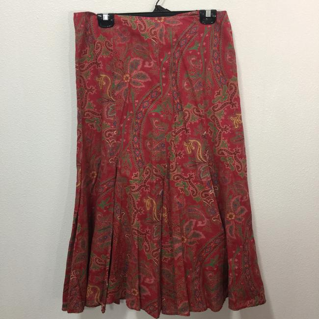 Ralph Lauren Black Label Fit And Flare Skirt Multi Color Paisely Print Image 1
