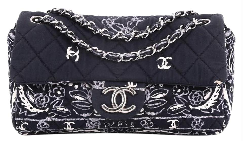 9c178c3dcddf Chanel Classic Flap Bandana Quilted Medium Black and White Canvas ...