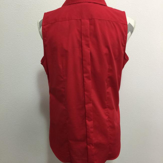 Lands' End Sleeveless No Iron Button Down Shirt Red Image 1