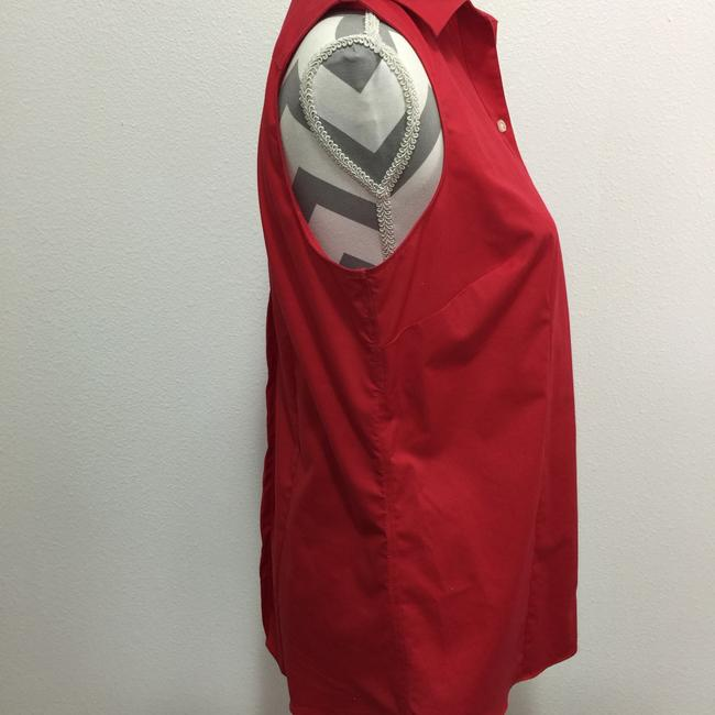 Lands' End Sleeveless No Iron Button Down Shirt Red Image 2