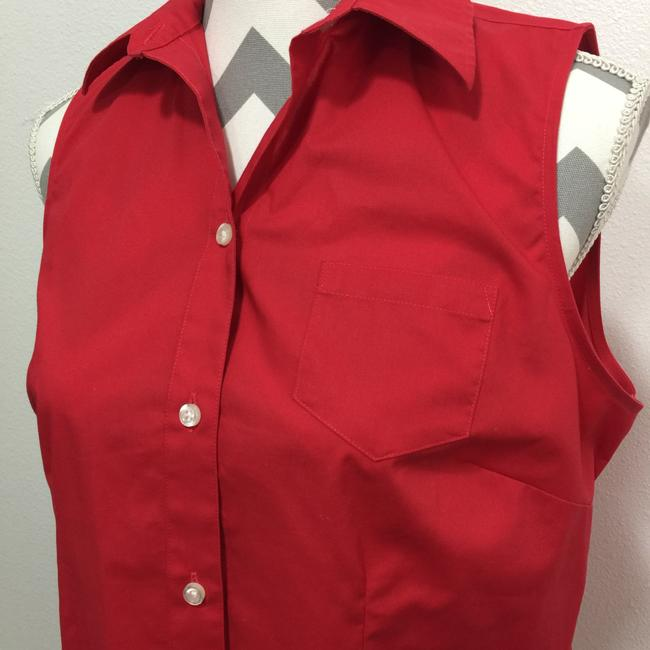 Lands' End Sleeveless No Iron Button Down Shirt Red Image 3