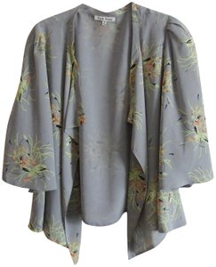 Black Rainn Kimono Gray Floral Asymetrical Lined Cardigan