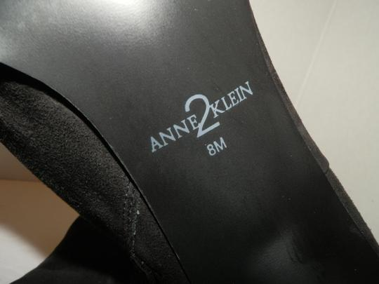 Anne Klein Ankle Leather Zipper Black Boots Image 8