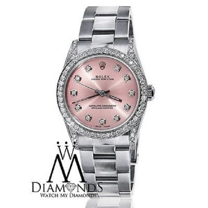 Rolex Diamond Ladies Oyster Perpetual Mid-size 31mm Pink Dial Watch 67480